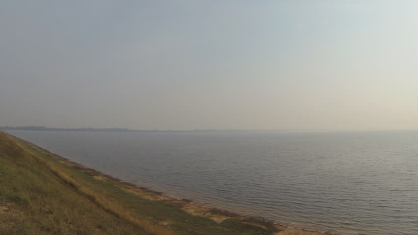 Panning view of the  west baray reservoir in Angkor Cambodia