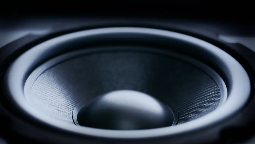 Closeup at moving sub-woofer. Speaker part.  | Shutterstock HD Video #3965047