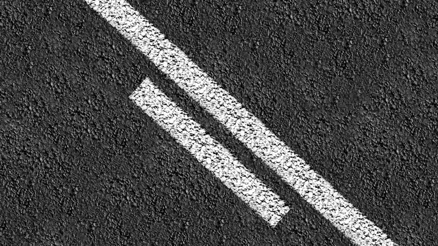 DRIVING DOWN STREET - HD LOOP, Animated close up of center line down a two way