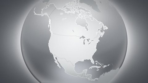Spinning earth with North and Central American country maps. Loopable. Each country border freeze a few seconds to let you edit and change the order or duration.