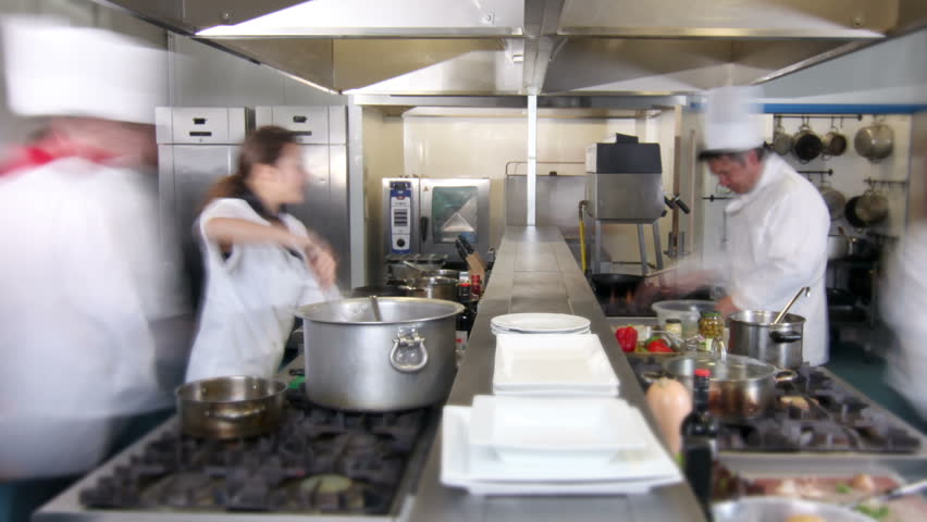Busy Restaurant Kitchen busy chef in kitchen in restaurant stock footage video 6091643
