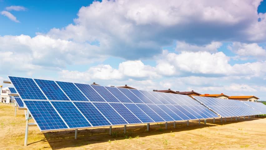 solar panels and modern village