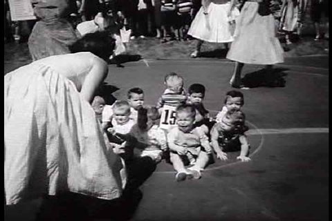 1950s - Babies compete for King and Queen in Los Angeles fair in 1950.