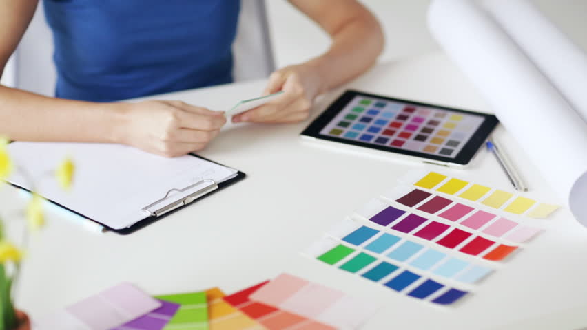 woman working with color samples for selection