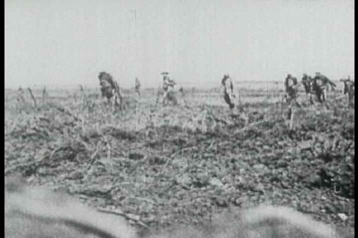 1910s - Battlefield footage from World War One, 1918.