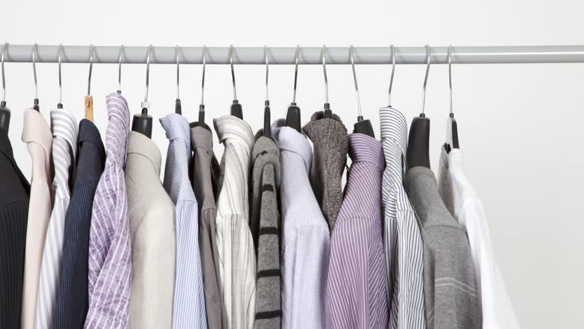 Time lapse of clothes on rack, closeup