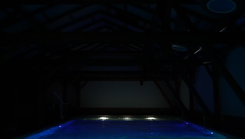 Water In The Pool Highlighted In Blue Red Green And White Gentle Waves Romantic  Mood Dark