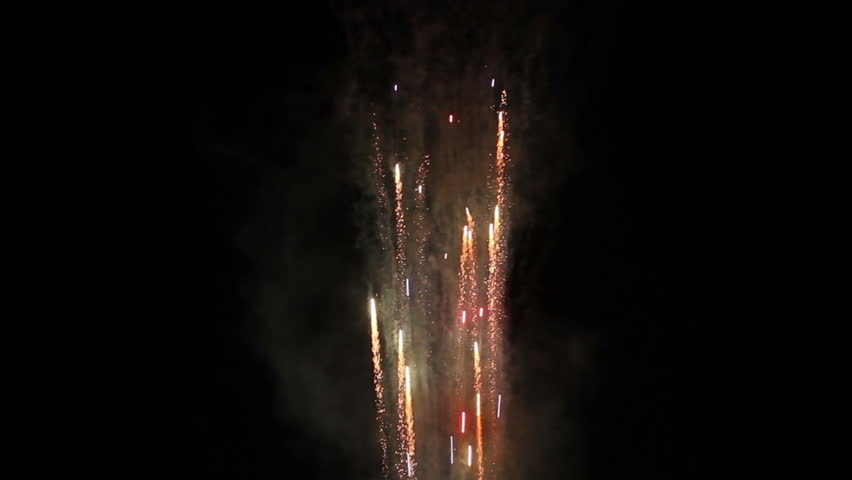 Spectacular fireworks display panning downward