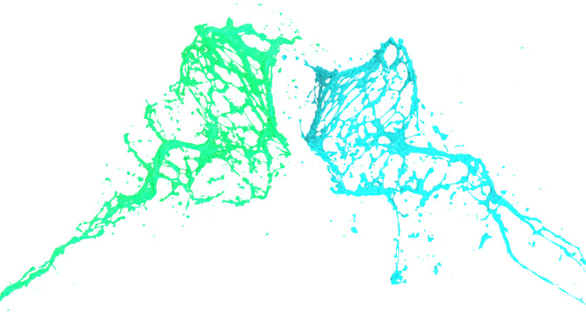 turquoise blue paint splashes collide in slow motion, isolated on