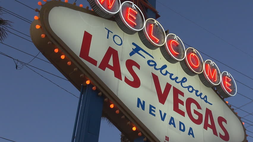 LAS VEGAS - USA,  MARCH 28, 2013, Welcome sign in Las Vegas in twilight | Shutterstock HD Video #4022566