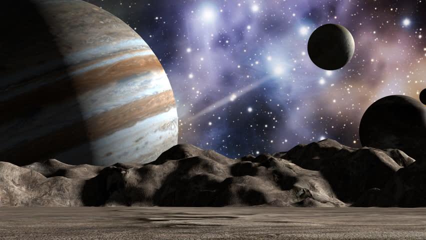 Jupiter and moons in space landscape