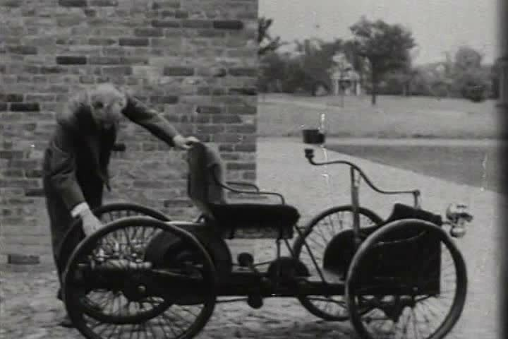 "1890s - 1896: Henry Ford builds his first vehicle the Quadracycle"" on a buggy frame with 4 bicycle wheels."" #4051771"