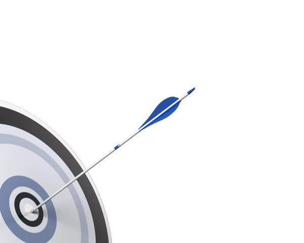 Marketing or Business Competitive Advantage Concept. Five arrow hitting the center of a blue target, 3D render animation, duration 5 seconds.