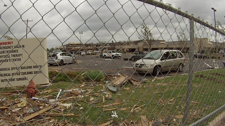 This is Moore Medical Center in Moore, Oklahoma.  Amazingly, there was only one minor injury.  Over two dozen cars that were previously parked in a street level lot were pulled from the roof.