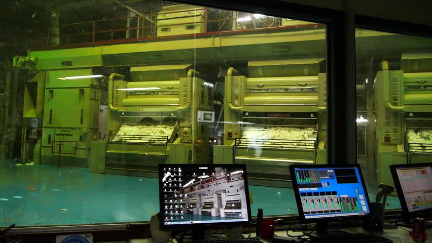 MOREE, AUSTRALIA - APR 24 2013: the control room of a cotton gin