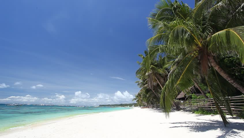 Tropical coastline with white sand and palms, Philippines, Boracay Island  | Shutterstock HD Video #4078528