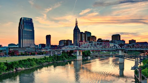 Downtown Nashville, Tennessee, USA time lapse.