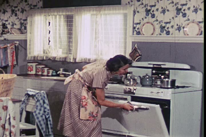 1950s - The kitchen is cleaned up while Tommy is in school and his laundry is done.