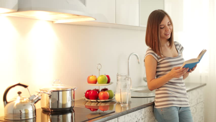Girl Standing In Kitchen And Will Have Her Breakfast Stock Footage ...