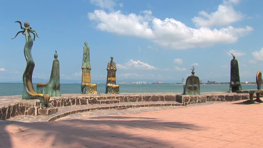 Iconic and signature statues along the water in Puerto Vallarta, Mexico