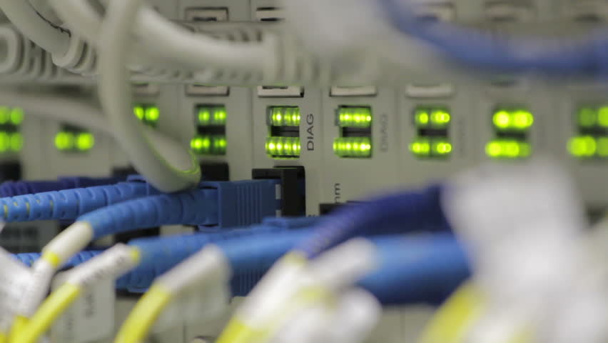 blinking LEDs on optical converters showing big traffic