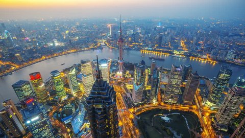Shanghai at night, time lapse.    Aerial view of high-rise buildings with Huangpu River in Shanghai, China.  - Original Size 4k (4096x2304).    - >>> Please Search Newest Similar Clip: 1020262945