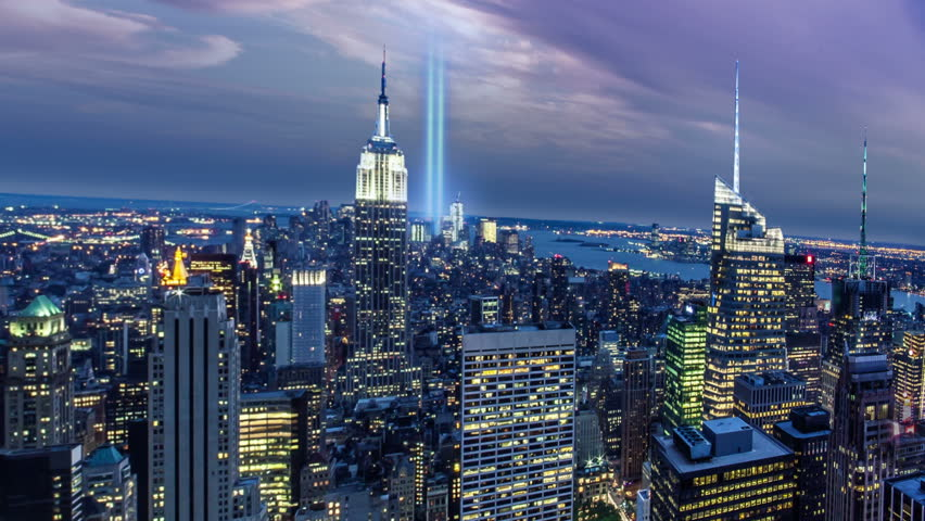 World Trade Center SignsSymbols Stock Footage Video Shutterstock - Two beams light new yorks skyline beautiful tribute 911