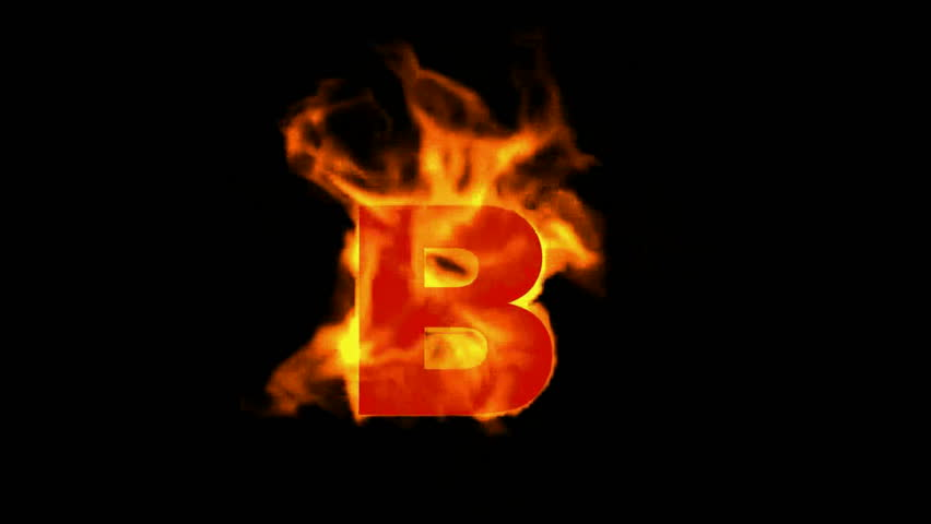 B Letter In Fire Lowercase Stock Footag...