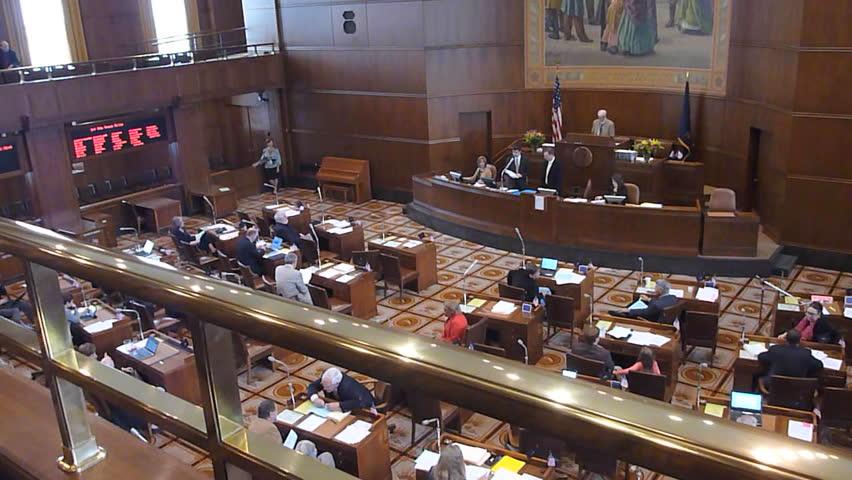 SALEM, OREGON CAPITAL BUILDING - CIRCA JUNE 2013: State Senators in session,