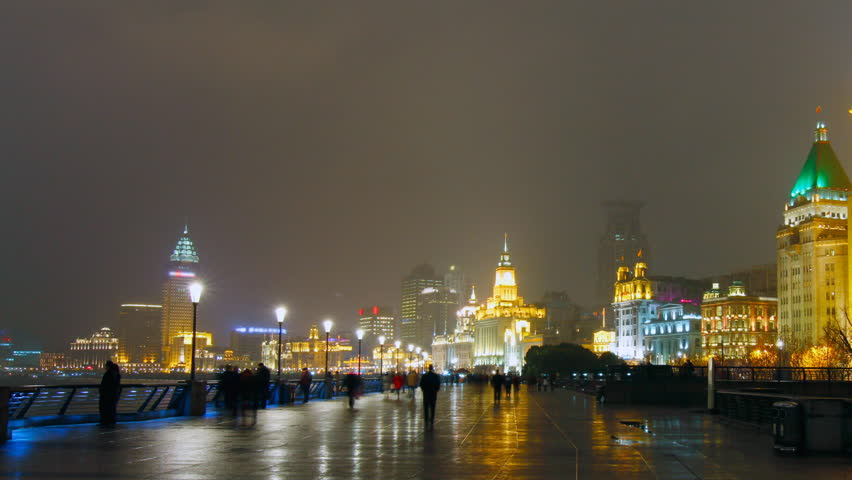 The Bund Shanghai at night. Shanghai, China. - panning