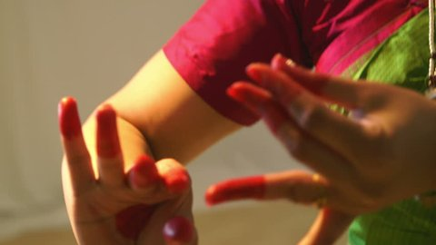 A lovely young woman tells a story through use of mudra or hand gestures traditional to classical Indian dance.