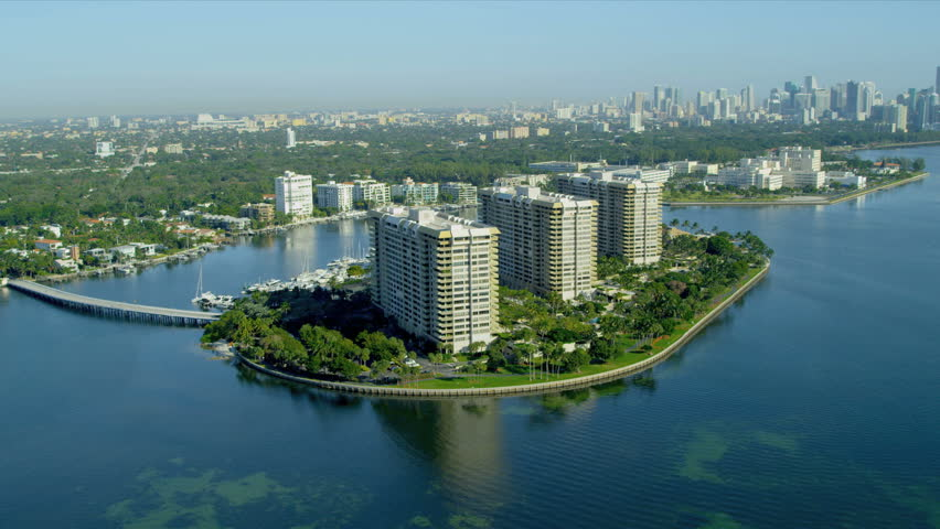 Stock video of aerial landscape view grove isle luxury