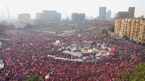 CAIRO, EGYPT - 2013: Crowds in Tahrir Square in Cairo, Egypt.