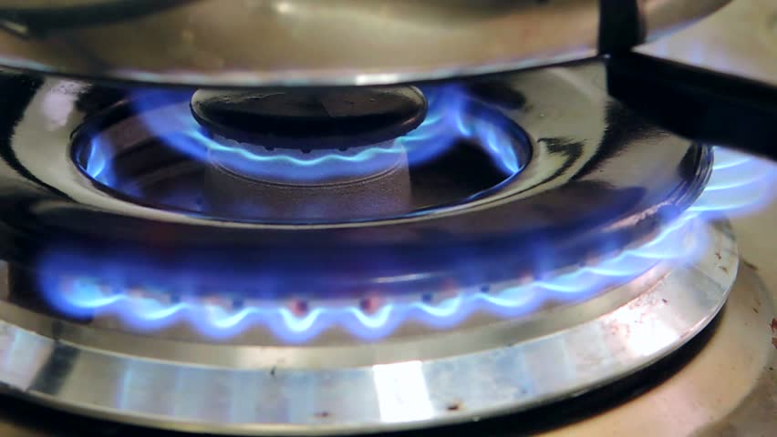 Gas Burning From A Kitchen Stove