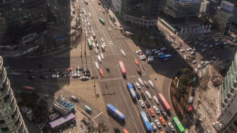 Seoul City Gangnam Crowded Downtown Architecture 172) Zooming time lapse of traffic and Architecture in Gangnam. Seoul, Korea.