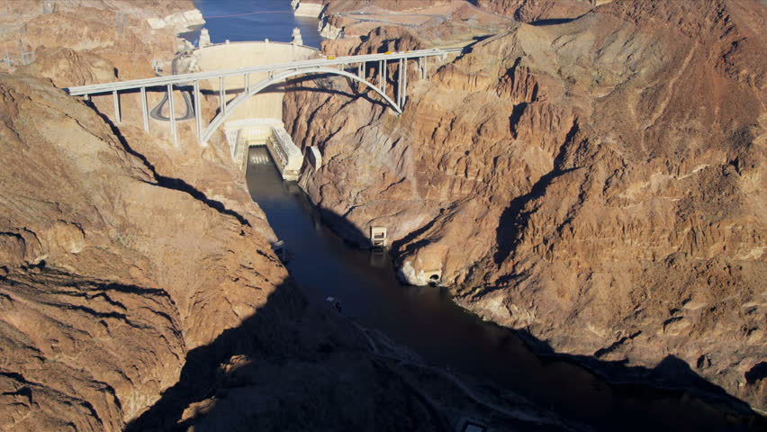 Aerial view Hoover Dam US 93 Colorado River bypass bridge and Lake Mead, Nevada, USA, RED EPIC