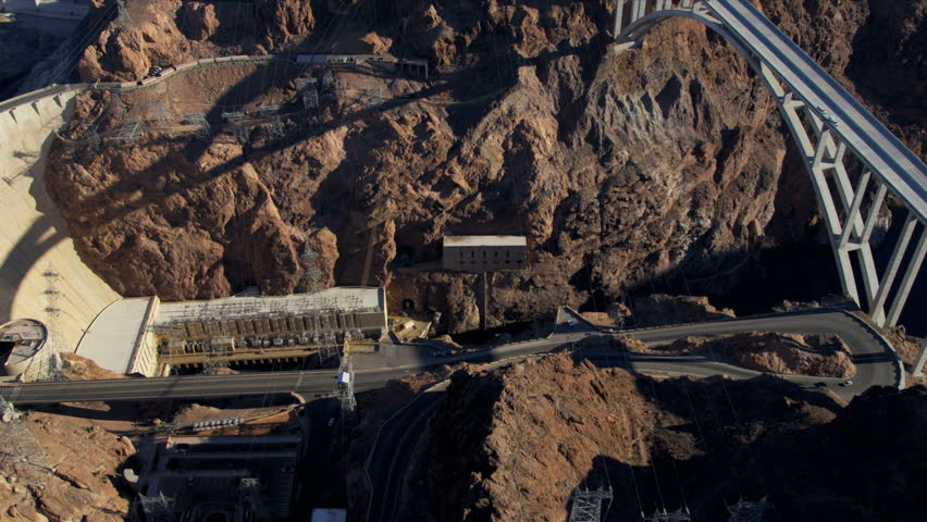 Aerial view Hoover Dam generating hydroelectric power from Colorado River, Lake Mead, Nevada, USA, RED EPIC | Shutterstock HD Video #4242218