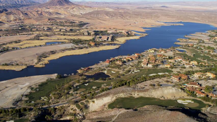 Aerial view Lake Las Vegas resort residential homes hotels and condominiums, Las Vegas, Nevada, USA | Shutterstock HD Video #4242578