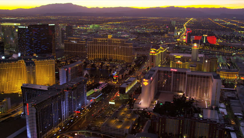 Las Vegas - January 2013: Aerial view sunset Las Vegas illuminated city Hotels and Casinos, Las Vegas, Nevada, USA, RED EPIC