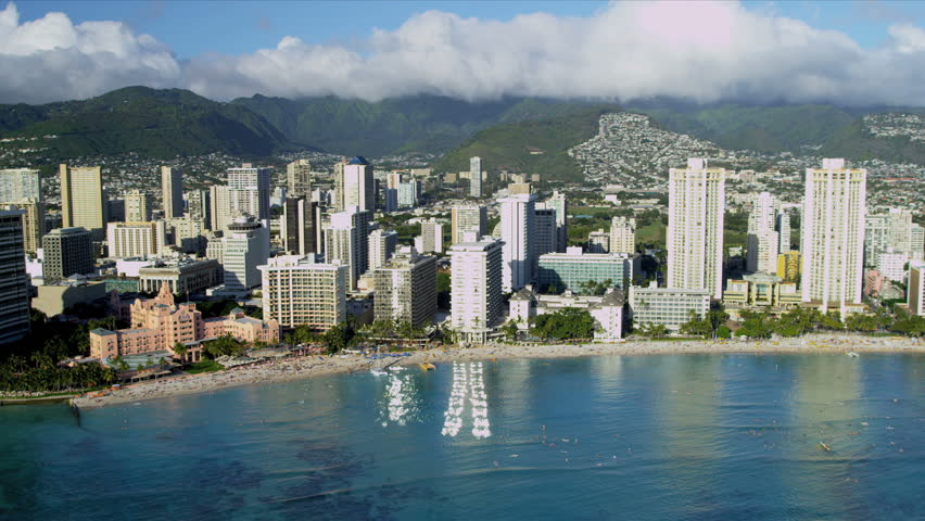 Aerial beachfront view of luxury hotels and condominiums, Waikiki, Honolulu, Oahu, Hawaii, USA, RED EPIC