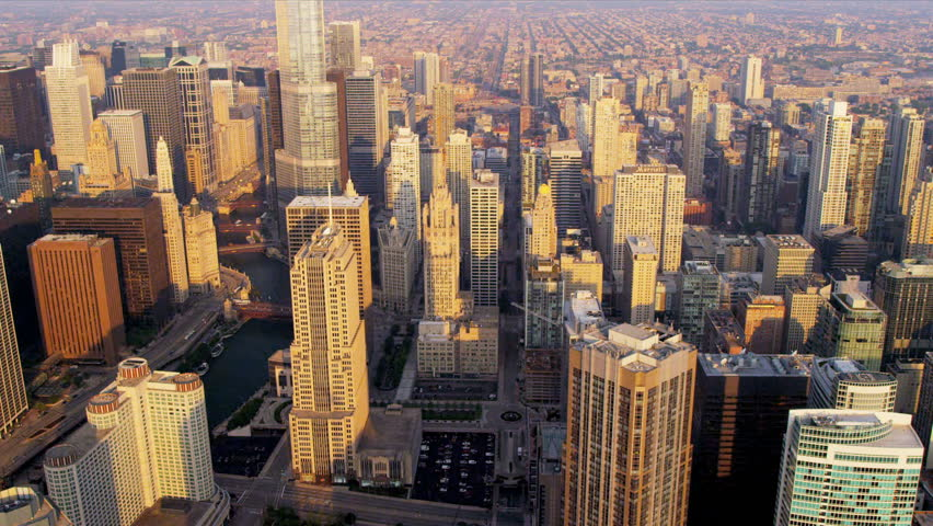Aerial sunrise cityscape view of Chicago River and popular Chicago buildings downtown Chicago, Illinois, USA, shot on RED EPIC | Shutterstock HD Video #4249397