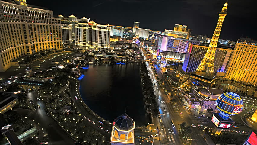 Las Vegas - January 2013: Illuminated view Bellagio Hotel nr Caesars Palace, Las Vegas Strip, USA, Time Lapse | Shutterstock HD Video #4262618