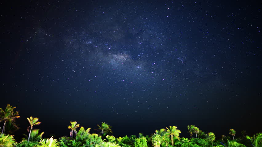 Astrophotography Time Lapse of Milky Way Galaxy & Moon Rise over Tropical Jungle
