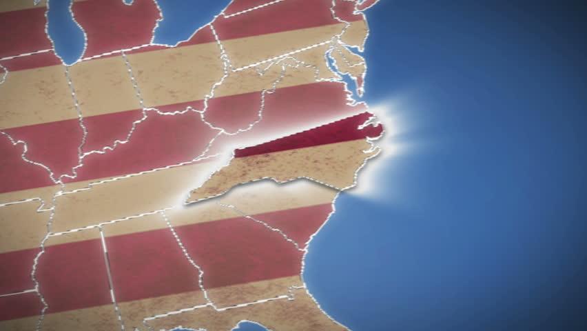 North Carolina Map Stock Footage Video Shutterstock - Map of no carolina