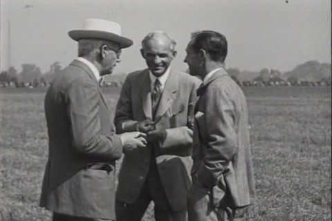 1920s - Charles Lindbergh and Henry Ford at Ford airport in 1927.