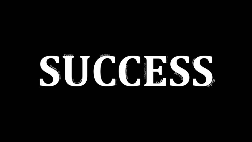 """This video starts off with an extreme close up of business related words associated with success in the workplace. At the end the camera reveals that the words are placed on top of the word """"success"""". 