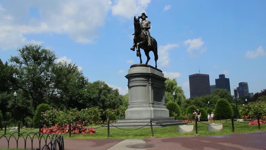 Washington Monument Among Grass In Boston Public Garden Usa Stock Footage Video 12741260