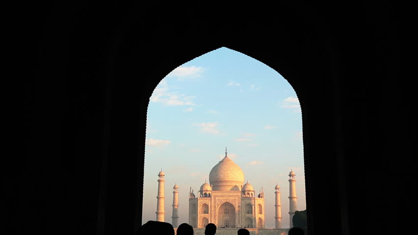 Tilt down shot of the Taj Mahal through archway, Agra, Uttar Pradesh, India
