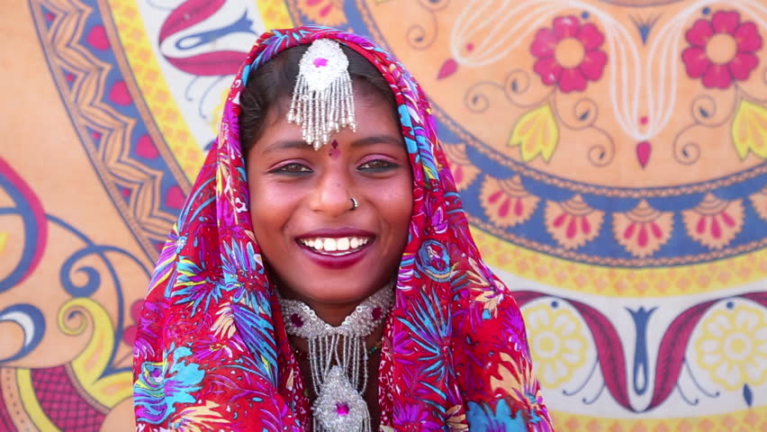 Shot of a Traditional Rajasthani woman smiling, Pushkar, Ajmer District, Rajasthan, India