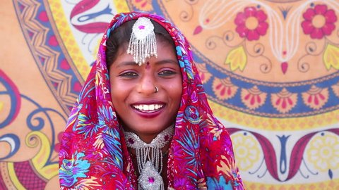 Shot of a Traditional Rajasthani woman smiling, Pushkar, Ajmer District, Rajasthan, India